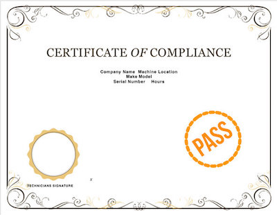 A Certificate with a PASS stamp on it.